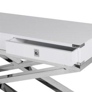 Console Table - Black & Chrome - 3 Drawers - Dorchester White Range