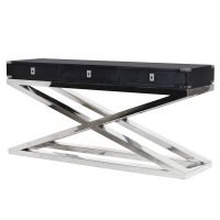 Console Table - Black & Chrome - 3 Drawers - Dorchester Black Range