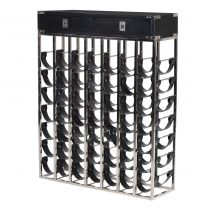 Wine Rack - 49 Black Leather Bottle Holders - Chrome & Black - Dorchester Black Range