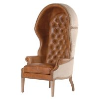 Porters Chair - Deep Buttoned Tall Porters Chair - Tan Leather