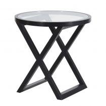 Large Round Side Table - Glass Top - X Design - Dorchester Black Range