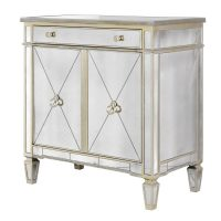 Cabinet - Tall 2 Door 1 Drawer Mirrored Cabinet - Antique Mirrored Range
