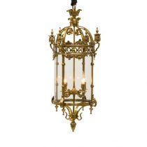 Chandelier - Antique Brass & Glass - 4 Light - Ornate Hanging Lantern