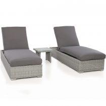 Double Sun Lounger & Side Table Set - Light Grey Polyweave Rattan