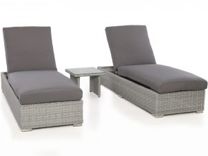 Double Sun Lounger & Side Table Set - Light Grey Polyweave Rattan