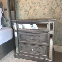 Bedside Cabinet - 3 Drawers - Hand Painted Silver Finish - Hollywood Range