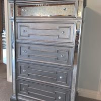 Tallboy Chest Of Drawers - 6 Drawers - Hand Painted Silver Finish - Hollywood Range