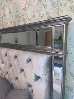 6ft Super King Size Bed - Silver Finish - Velvet & Mirrored Headboard - Hollywood Range