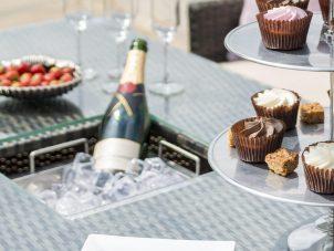 Garden Corner Sofa Dining Set - Rising Dining Table - Central Ice Bucket - Grey Polyweave