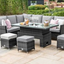 Garden Corner Sofa Dining Set - Rising Dining Table - Central Ice Bucket - Grey Polyweave