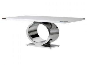 200cm Dining Table - Oblong - White & Chrome Base - Dorchester White Range