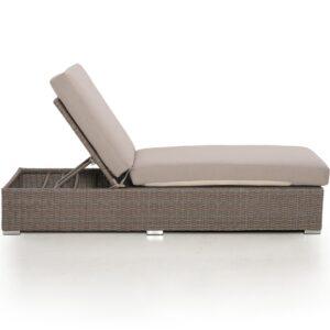 Double Sun Lounger & Side Table Set - Light Brown Polyweave Rattan