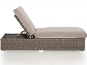 Double Sun Lounger & Side Table Set - Light Brown Polyweave Rattan