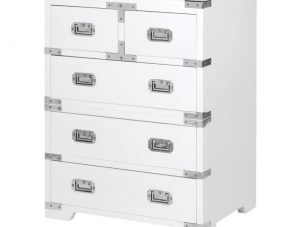 Chest Of Drawers - Small Chrome Edged 2 Over 3 Drawers - Dorchester White Range