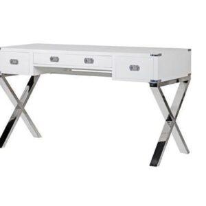 Dressing Table/Desk - Chrome & Black - 3 Drawer - Dorchester Range White
