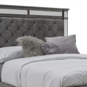 5ft King Size Hollywood Bed - Silver Finish - Velvet & Mirrored Headboard
