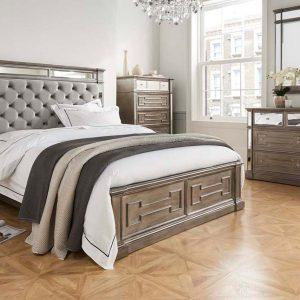 Bedside Cabinet - 3 Drawers - Silver Finish - Hollywood Bedroom Range
