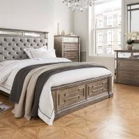 6ft Super King Size Bed - Silver Finish - Velvet & Mirrored Headboard - Hollywood Range