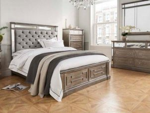 5ft Bed - Velvet & Mirrored Headboard - Hollywood Bedroom Range