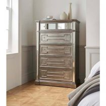 Tallboy Chest Of Drawers - 6 Drawers - Hand Painted & Silver Finish