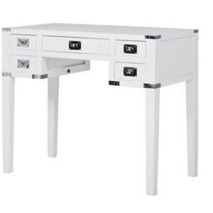 Desk/Writing Table - White & Chrome Edge - 5 Drawers - Dorchester Range - White