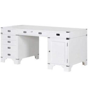 Desk/Writing Table - White & Chrome - 7 Drawers & 1 Cupboard - Dorchester Range - White