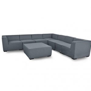 Large Corner Sofa Group - All Weather Fabric Set - Coffee Table/Pouffe - Light Grey