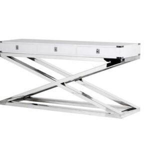 Console Table - White & Chrome Finish - 3 Drawers - Dorchester Range White
