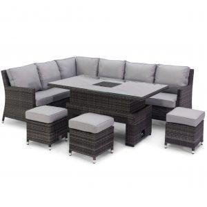 Garden Corner Sofa Dining Set - Rising Table - Ice Bucket - Grey Polyweave