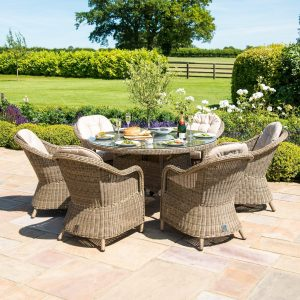 6 Seat Round Fire Pit Dining Set - Natural Light Brown - Heritage Chairs