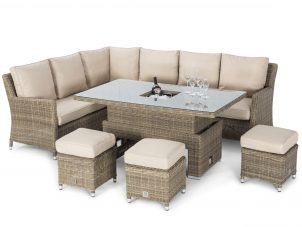 Garden Corner Sofa Dining Set - Rising Dining Table - Central Ice Bucket - Light Brown Polyweave