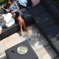 All Weather Garden Fabric Small Corner Sofa Group - Coffee Table Pouffe - Dark Grey