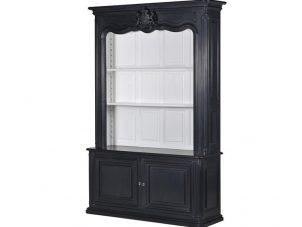 Bookcase - 4 Shelves & Cupboard - Open Design - Dorchester Black Range