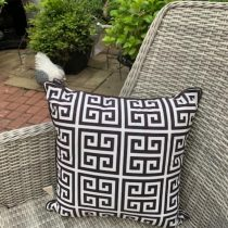 Scatter Cushion - Greek Key Design - Black & White - Outdoor All Weather Fabric