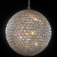 Round Champagne & Chrome Crystal Chandelier - Ball Shaped - 50cm