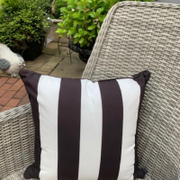 Scatter Cushion - Black & White Stripe - Outdoor All Weather Fabric