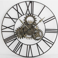 Large Round Wall Clock - Distressed Black Metal - Cog Face - Roman Numerals