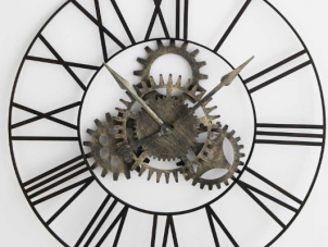 Wall Clock - Large Round Distressed Black Metal - Cog Face - Roman Numerals