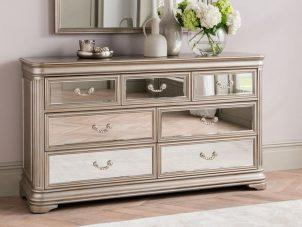 Chest Of Drawers - 3 over 4 Drawer Mirrored Dressing Drawers - LA Mirrored Range