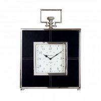 Mantel Clock - Bond Street Clock Co - Black Leather & Chrome Mantel Clock