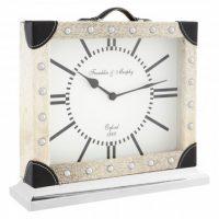 Mantel Clock - Bond Street Clock Co - Small Grey Cowhide Mantel Clock