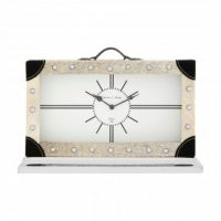 Mantel Clock - Bond Street Clock Co - Large Grey Cowhide Mantel Clock