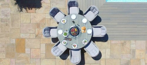 8 Seat Round Fire Pit Garden Dining Set - Grey Polyweave - Heritage Chairs