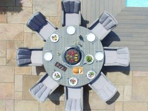 8 Seat Round Fire Pit Garden Dining Set - Grey Polyweave - Venice Chairs
