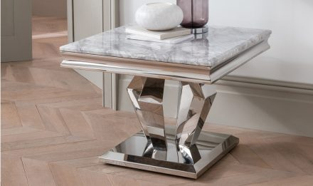 Lamp Table - Chrome Based Billowed Leg Marble Top Side Table - Grey Marble