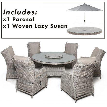 6 Seat Round Garden Table Set - Umbrella/Base - Reclining Chairs - Stone Colour