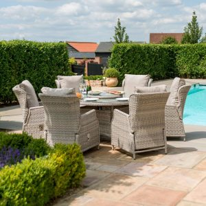 6 Seat Round Garden Table Set - Umbrella/Base - Reclining Chairs - Stone