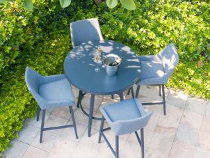 4 Seat Round Garden Bar Set - Grey All Weather Fabric - Black Glass Top