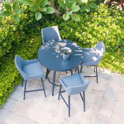 4 Seat Round Garden Bar Set - Grey All Weather Fabric - Black Glass Top