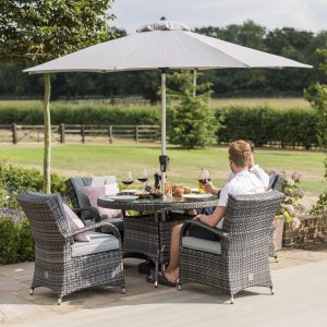 4 Seater Round Garden Dining Set - Umbrella & Base - Grey Poly-Weave